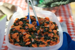 Blanched Carrot & Kale Salad in Orange Ginger Vinaigrette. Vegan, gluten-free, soy-free.