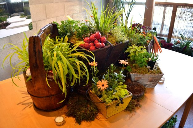 Incredibly lush, and partially edible table display. See how many edibles you can spot.
