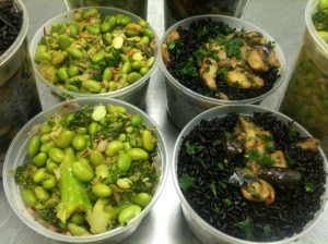 Another marinated salad, Broccoli Edamame Salad, paired with Sesame Roasted Eggplant & Black Rice. (my photo)